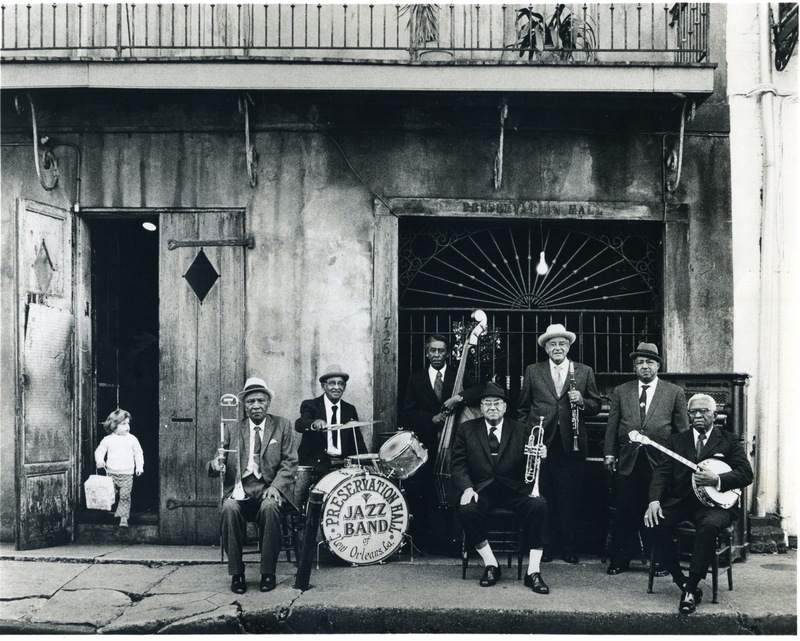 Ben Jaffe as a kid with the musicians out front of Preservation Hall