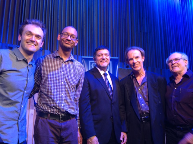 An all-star cast of New Orleans musicians were in the audience for Gwen's interview with Chris. From left: Chris Thile, Jason Marsalis, Don Vappie, Tom McDermott, Camile Baudoin.